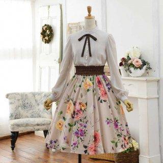ローズガーデンのフレアースカート_ミディアム丈(スカート丈62cm)