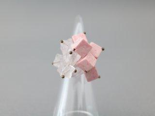 ミサキカナ ピンクの天然石のリング