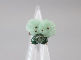 ミサキカナ 緑のお花のリング