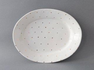 オーバル皿(金彩)ドット B