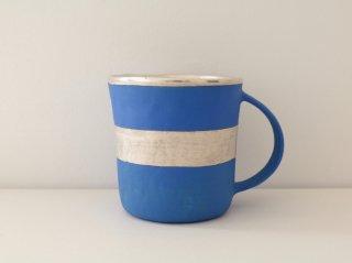 マグカップ(銀彩) 青・ボーダー