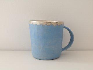 マグカップ(銀彩) 水色・スカラップ