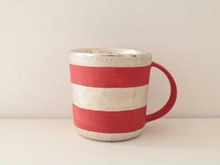 マグカップ(銀彩) 赤・ボーダー