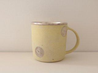 マグカップ(銀彩) イエロー・水玉