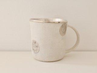 マグカップ(銀彩) 白・水玉 B