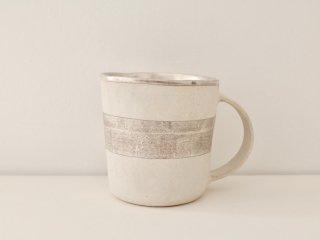 マグカップ(銀彩) 白・ボーダー A
