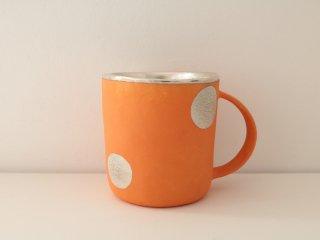 マグカップ(銀彩) オレンジ・水玉 A
