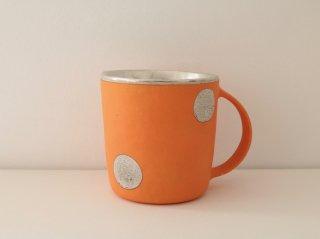 マグカップ(銀彩) オレンジ・水玉 B