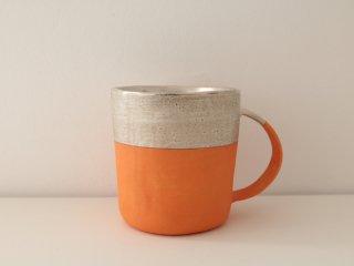 マグカップ(銀彩) オレンジ&シルバー A