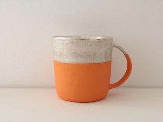 マグカップ(銀彩) オレンジ&シルバー B