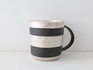 マグカップ(銀彩) 黒・ボーダー A
