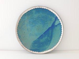 7寸皿(ターコイズ)スカラップ B