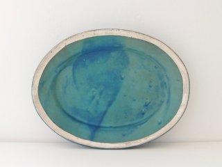 オーバル皿(ターコイズ)縁どり A