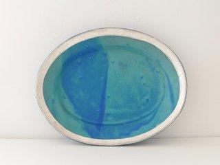 オーバル皿(ターコイズ)縁どり B