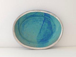 オーバル皿(ターコイズ)縁どり C
