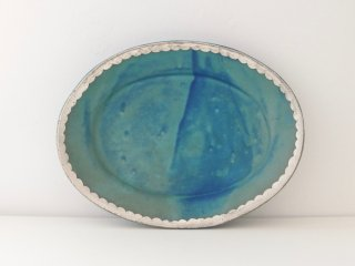 オーバル皿(ターコイズ)スカラップ A
