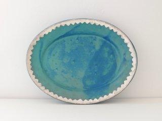 オーバル皿(ターコイズ)ジャギー A