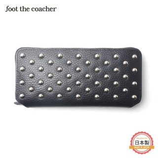 フットザコーチャー foot the coacher LONG ZIP WALLET-CIRCLE STUDS
