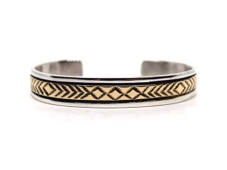 BRUCE MORGAN ブルースモーガン 3/8inch 14K STAMP BANGLE-DIA ARROW REVERSE