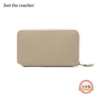 MIDDLE ZIP WALLET-TAUPE/WHITE