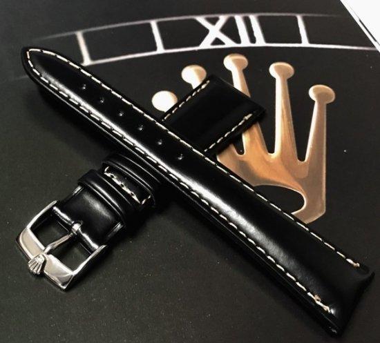 quality design d9045 e029b 高品質カーフ革ベルト 20mm・ブラック / ROLEX尾錠