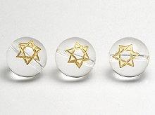 六芒星の彫刻入り|天然スパイラル水晶|12mm・14mm|左水晶・右水晶|粒売りビーズ