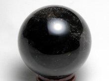 チベット産黒水晶(モリオン)|右水晶|虹入り丸玉 53mm|No.1