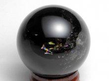 チベット産黒水晶(モリオン)|右水晶|虹入り丸玉 43mm|No.2