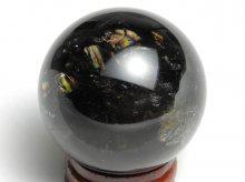 チベット産黒水晶(モリオン)|右水晶|虹入り丸玉 42.5mm|No.4