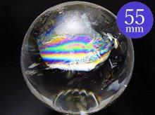 左水晶 高品質レインボー水晶玉 55mm No.40 天然スパイラルクォーツ(螺旋水晶)