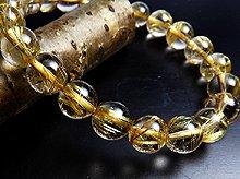 宝石質ゴールドルチルクォーツ|右水晶 9mm玉 No.10|天然スパイラル水晶|右手用ブレスレット