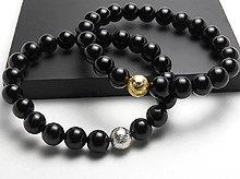 ギベオン隕石&チベット産黒水晶|8mm玉ブレスレット|シルバー×ゴールド|左右2本セット