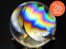 右水晶|最上級レインボー水晶玉 26mm No.49|天然スパイラルクォーツ(螺旋水晶)