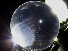 日本製無垢玉 隠しファントム水晶 30.7mm 左水晶 天然スパイラルクォーツ(螺旋水晶)
