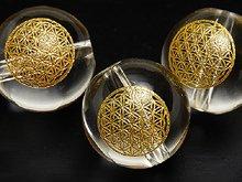 フラワーオブライフの彫刻入り(金彩)天然スパイラル水晶|8mm・10mm・12mm|左水晶・右水晶|粒売り