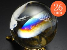 【訳あり特価】右水晶|最上級レインボー水晶玉 25.7mm No.70|天然スパイラルクォーツ(螺旋水晶)
