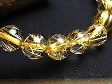 透明&タイチン!宝石質ゴールドルチルクォーツ 双晶 8.5mm玉 左右兼用ブレスレット
