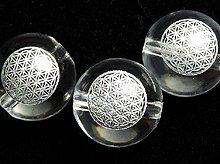 フラワーオブライフの彫刻入り(銀彩)天然スパイラル水晶|8mm・10mm・12mm|左水晶・右水晶|粒売り