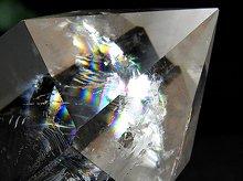 虹入り|天然水晶六角柱ポイント|ブラジル産|125mm 239g|専用台座付き No.3