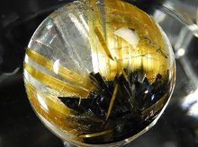 太陽タイチン|最上級母岩入りゴールドルチルクォーツ|9.1mm 左水晶 No.6|スパイラル水晶|粒売りビーズ