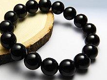 チベット産黒水晶(モリオン)|左水晶 12mm玉|左手用ブレスレット