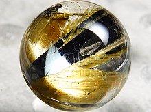 太陽タイチン|母岩入りゴールドルチルクォーツ|9mm 左水晶 No.14|スパイラル水晶|粒売り
