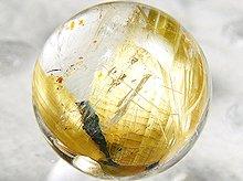 太陽タイチン|母岩入りゴールドルチルクォーツ|9mm 左水晶 No.15|スパイラル水晶|粒売り