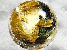 太陽タイチン|母岩入りゴールドルチルクォーツ|9mm 左水晶 No.16|スパイラル水晶|粒売り