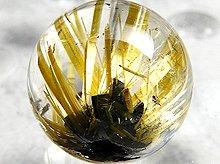 太陽タイチン|母岩入りゴールドルチルクォーツ|9.5mm 双晶 No.17|スパイラル水晶|粒売り
