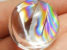 最上級アイリスクォーツ(天然レインボー水晶)|左水晶|ラウンド カボション 24mm|No.3