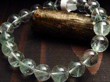 エメラルドグリーンファントムクォーツ|マダガスカル産|10mm玉 右水晶|右手用ブレスレット No.1