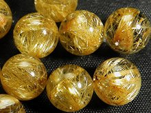 高品質ゴールドルチルクォーツ|天然スパイラル水晶|10.5mm|粒売りビーズ