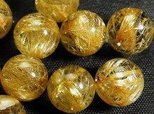 高品質ゴールドルチルクォーツ|5A|10.5mm|粒売りビーズ