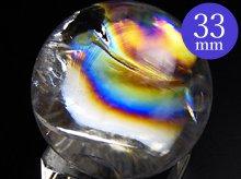 左水晶|高品質レインボー水晶玉 32.8mm No.78|天然スパイラル水晶